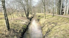 Small stream flowing through tree colonnade. Brook in natural parkland alley. Small stream flowing through tree colonnade. Beautiful water path leading alley stock footage
