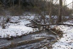 Creek in frozen winter landscape stock images