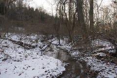 Creek in frozen winter landscape royalty free stock image