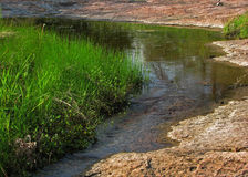 Small stream with grass and granite royalty free stock photos