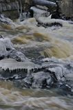 Icy frozen river on murky winter day. Small stream, grass and stones covered with ice royalty free stock photo