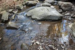 Small stream and rocks. At spring forest Stock Images