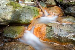 Small stream and rocks. At spring forest Stock Photos