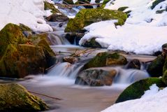 Small  stream with snow Royalty Free Stock Photo