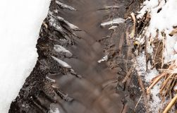 Small stream with thin layers of ice forming on the sides Royalty Free Stock Images