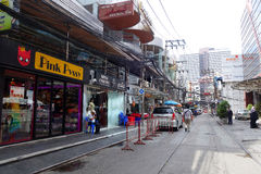 Small street along Sukhumvit road, Bangkok stock photo