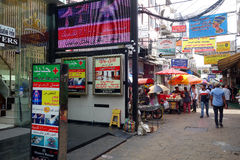Small street along Sukhumvit road, Bangkok. BANGKOK, THAILAND- 21 MAY, 2016: Small street along Sukhumvit road in downtown of Bangkok, Thailand. Sukhumvit road Royalty Free Stock Photo