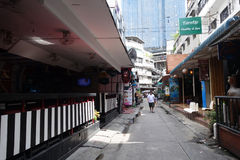 Small street along Sukhumvit road, Bangkok royalty free stock image
