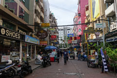 Small street along Sukhumvit road, Bangkok. BANGKOK, THAILAND- 21 MAY, 2016: Small street along Sukhumvit road in downtown of Bangkok, Thailand. Sukhumvit road Stock Image