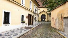 Small street Anezska in Prague Royalty Free Stock Photo