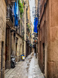 Small street in Barcelona Gothic quarter Royalty Free Stock Image
