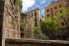 Small street in the Barcelona. Sunny day Royalty Free Stock Photography