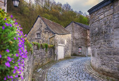 Small street in Belgium town Durbuy Stock Photos