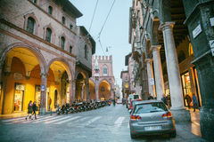 Small street in Bologna, Italy, near Piazza Maggiore,. 13 march 2015 Stock Photography