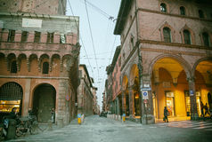 Small street in Bologna, Italy, near Piazza Ravegnana, 13 march. 2015 Royalty Free Stock Photography