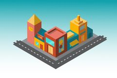 Several buildings in the isometry of the road. A small street with buildings. The map has a tower and shops. There is a roadway. May be used for promotional stock illustration