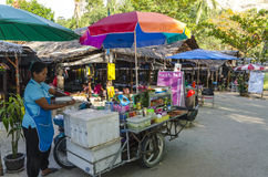 Small street cafe in the Thai style. Royalty Free Stock Image