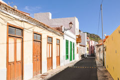 Small street with characteristic canarian buildings Royalty Free Stock Photo