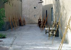 Small street dedicated to the art of painting. Small street dedicated to the art of painting, the easels await the artists for next class royalty free stock images