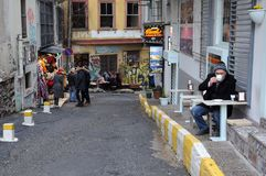 Small Street in Galata Neighborhood Royalty Free Stock Photography