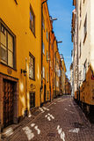Small street on Gamla stan Royalty Free Stock Images