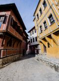 Small street with houses in the old town in Plovdiv - Bulgaria