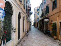 Small street in old Town of Corfu island Greece. In autumn  in the afternoon Stock Images