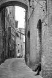 Small street in the old town. Siena. Stock Photography