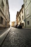 Small Street - Prague. A small skinny street detail in the old town area of Prague, Czech Republic Royalty Free Stock Images