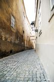 Small Street - Prague. A small skinny moody street detail in the old town area of Prague, Czech Republic Royalty Free Stock Photography