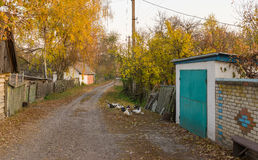 Small street in remote Ukrainian village Stock Image