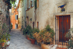 Small street at Saint Tropez, France Stock Photography
