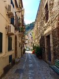 Small street of Scilla , Reggio di Calabria, Italy. Old historic fishing  town of Scilla in Italy Royalty Free Stock Photography