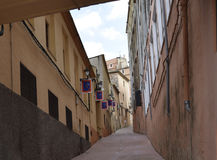 Small street. Tourist Spain. narrow street. Very narrow street. Typical Spanish small street Royalty Free Stock Photography
