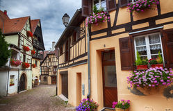Small street in village Eguisheim Royalty Free Stock Image