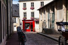 The small streets of Bayeux stock photos