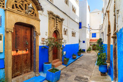 Small streets in blue and white in the kasbah of the old city Ra Royalty Free Stock Photo