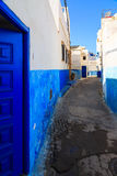 Small streets in blue and white in the kasbah of the old city Ra Stock Images