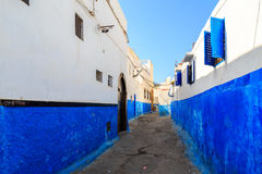 Small streets in blue and white in the kasbah of the old city Ra Stock Photos