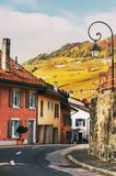 Small streets of swiss medieval village Saint-Saphorin Royalty Free Stock Images