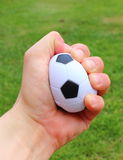 Small stress ball in hand on grass background Stock Images