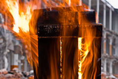 Small structure fire Stock Photos