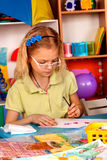 Small students children painting in art school class. Stock Photo