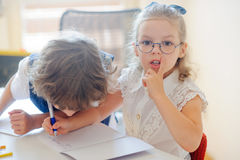 Small students at a lesson. Stock Image