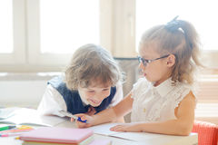 Small students at a lesson. Stock Photo