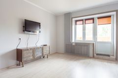 Small studio apartment and kitchen hightech interior Stock Photography