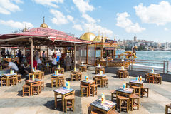 Small stylized cafe on the waterfront Royalty Free Stock Photography