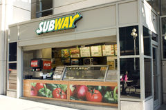 Small Subway restaurant. Subway is one of the fastest growing fast food chains. It claims its sandwiches are fresher and healthier. This Subway restaurant is the Royalty Free Stock Photography