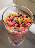 Small sugary jelly bean candy as topping stock photography