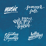 Small summer lettering set. Small summer handdrawn lettering set. Modern calligraphy. Ink illustration. Design for banner, poster, card, invitation, flyer Stock Photos